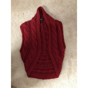 Bebe Maroon Knitted Sweater Vest